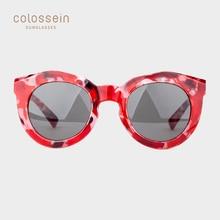 COLOSSEIN Cat Eye Frauen Sonnenbrille Spiegel Runde Objektiv Farbe Fleckige Starke PC Rahmen Sonnenbrille UV400 Party Nachtclub Gläser