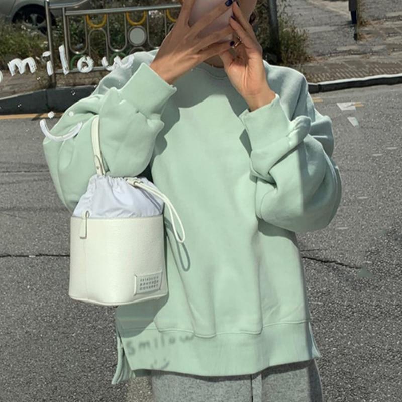 Sudadera coreana Irregular de cuello redondo otoño linterna de invierno manga larga suéter grueso Casual naranja/Verde abrigo moda 2020