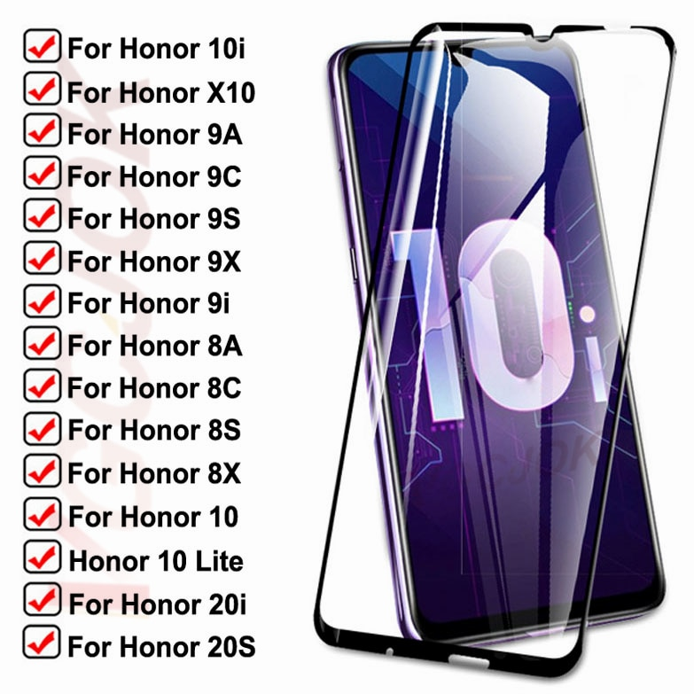 15D Tempered Glass For Huawei honor 10i 9i 20i 20S X10 Protective Glass Honor 10 Lite 8A 8X 8S 8C 9A