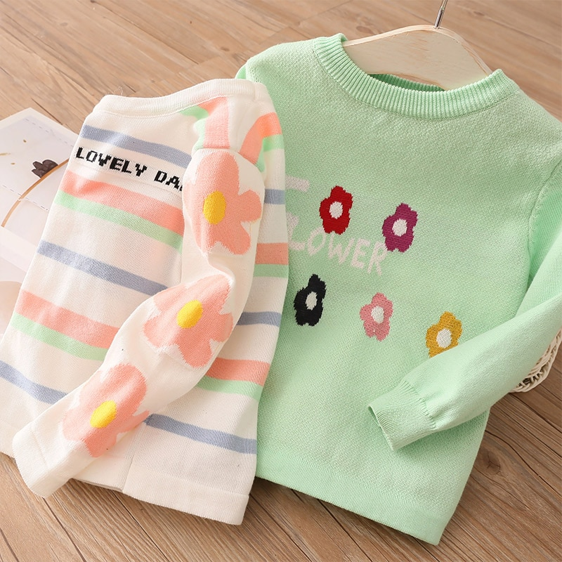 Ropa de niños de otoño primavera 2 3 4-10 años, ropa para niños de cuello redondo con flores de caramelo de rayas con flores, jersey de bebé niña tejida, Jersey, Jersey, 2020