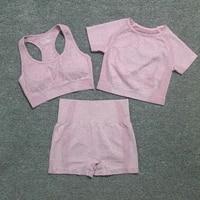 3pcs seamless yoga set women gym workout clothes sports brashort sleeve fitness crop tophigh waist shorts legging sports suits