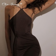 Straps Halter Party Backless Midi Dress Women Club Brown Ruched Sexy Dresses Ladies Chic 2021 Summer