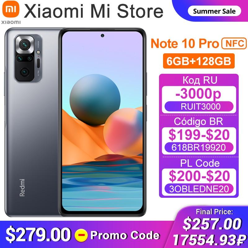 2021 Global Version Xiaomi Redmi Note 10 Pro Cellphone 6GB RAM 128GB ROM Snapdragon 732G Octa Core 108MP Quad Camera NFC