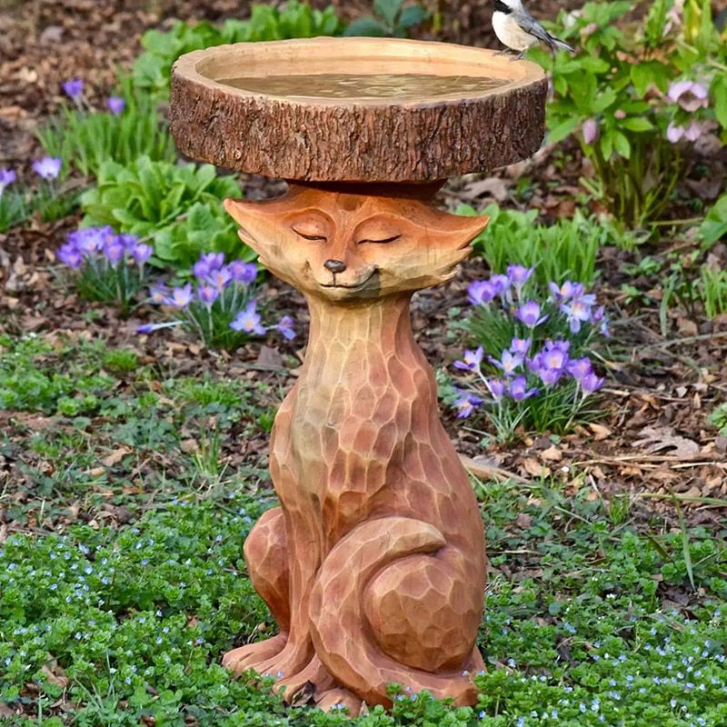 تمثال واقفة من الراتنج لحيوان الطيور في الهواء الطلق مزخرف بالراتنج زينة لطيفة من Foxs زينة الحديقة للحديقة LBE