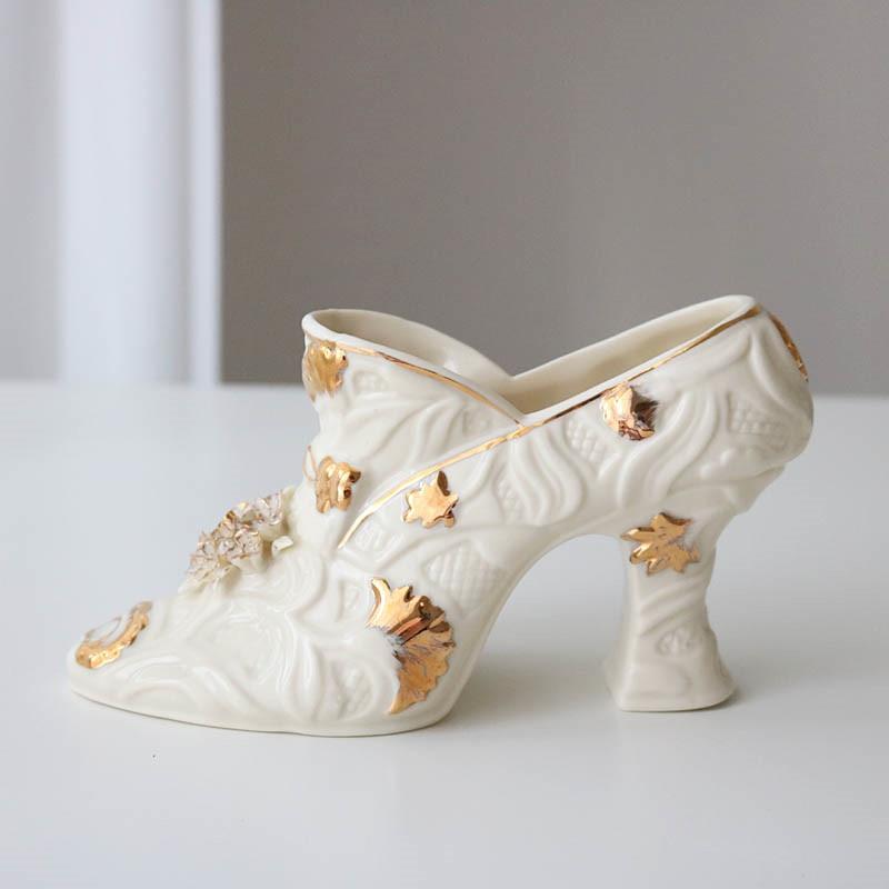 French Style Gold Plating Relief Ceramics Simulation Women High-heeled Shoes Vase Desktop Flower Arrangement Home Decor A1552