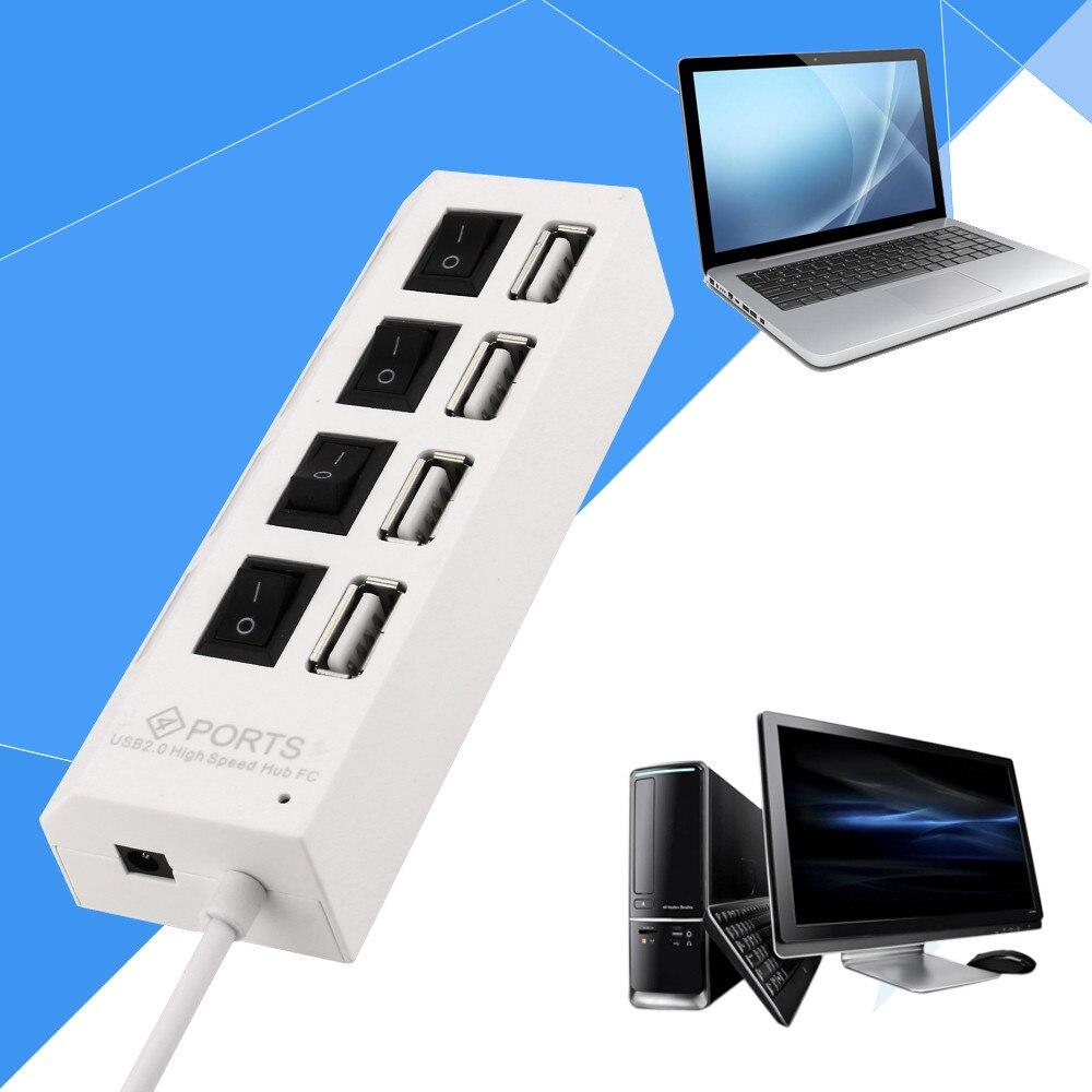 Hub de 4 puertos USB 2,0, interruptores de encendido/apagado + adaptador de...