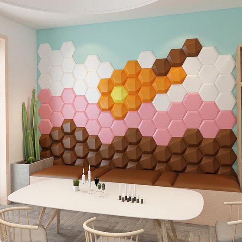 Самоклеящаяся Шестигранная 3D настенная наклейка с изголовьем кровати, татами для спальни, фоновый декор, обои в эстетике для гостиной