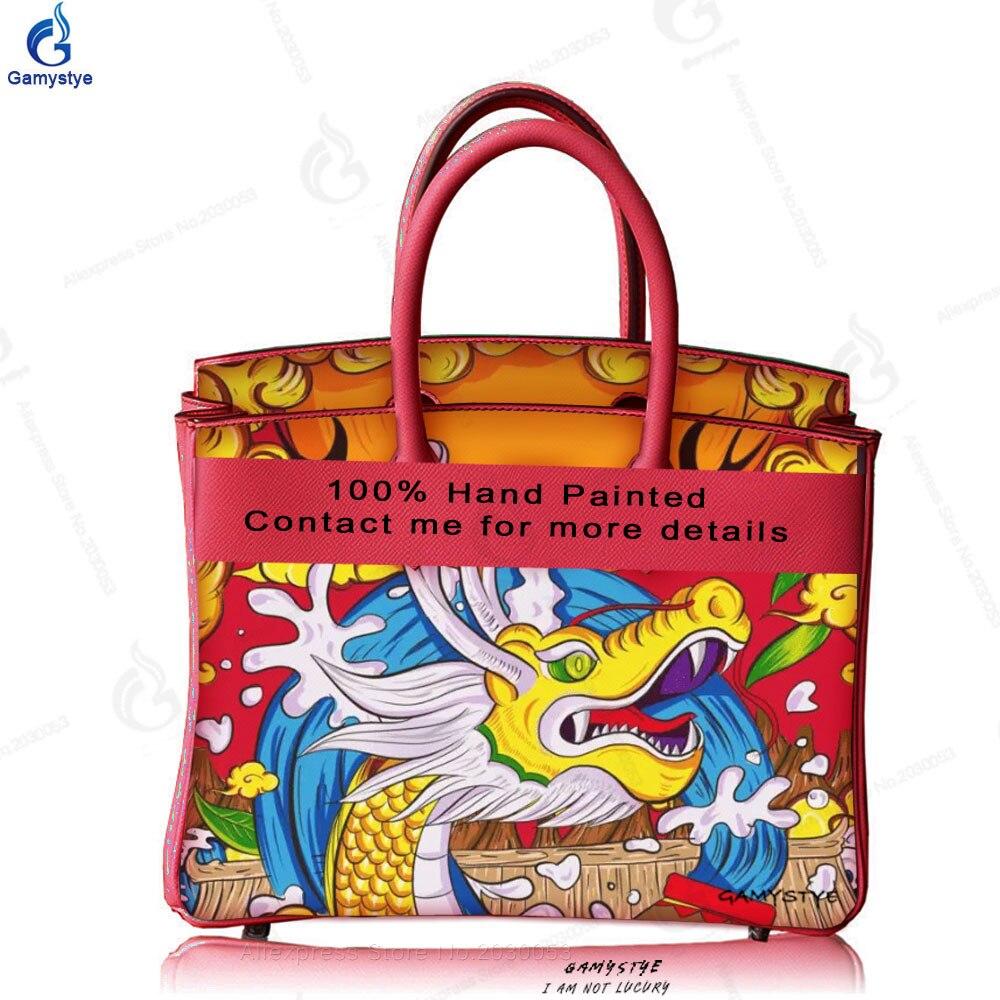 الصينية styel التنين الملك اليد رسم حقائب حقيقية جاكيت جلدي حقائب بيد المرأة حقيبة ساعي مصمم حقيقي جلد البقر