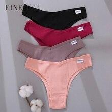 FINETOO כותנה ברזילאי תחתוני נשים סקסי V מותניים חוטיני נשי T תחתוני תחתוני M-XL ליידי ביקיני תחתונים 3 יח'\סט
