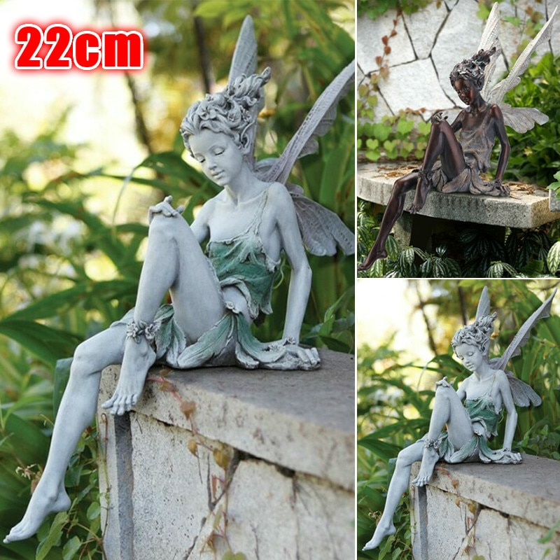 22cm Large Size Tudor And Turek Sitting Fairy Statue Garden Ornament Resin Craft Yard Home Garden De