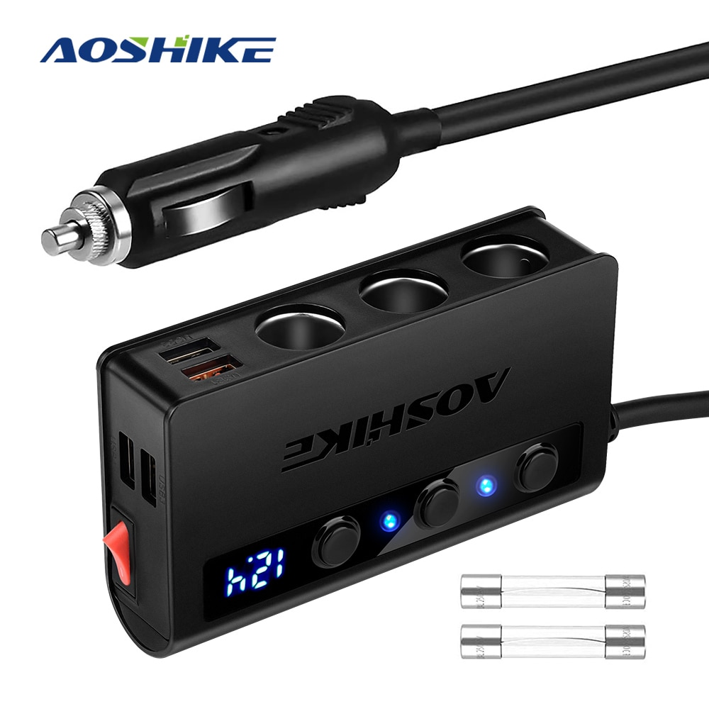 AOSHIKE адаптер для прикуривателя QC 3,0 180W 12V/24V 3-Socket Splitter 4 USB порта Автомобильный адаптер питания для GPS/DashCam/телефона/iPad