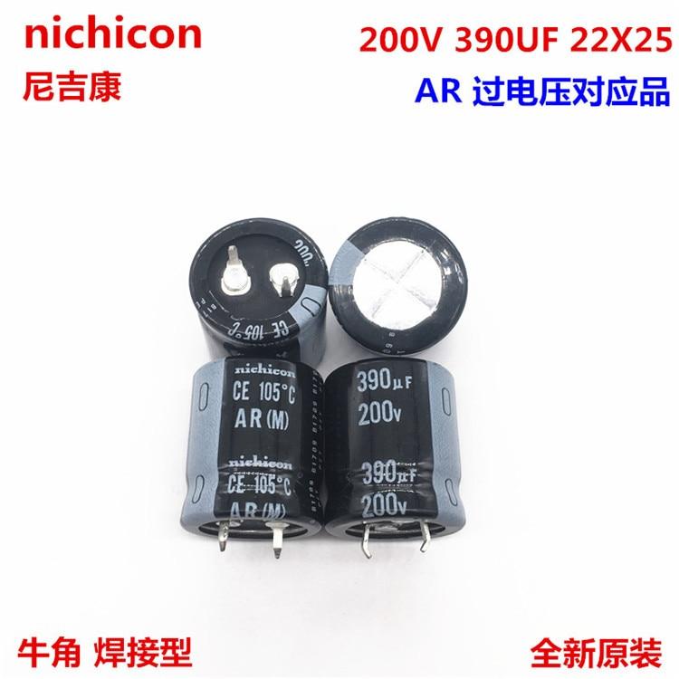 2 uds/10 Uds 390uf 200v Nichicon GU/AR 22x25mm 200V390uF Snap-en PSU condensador
