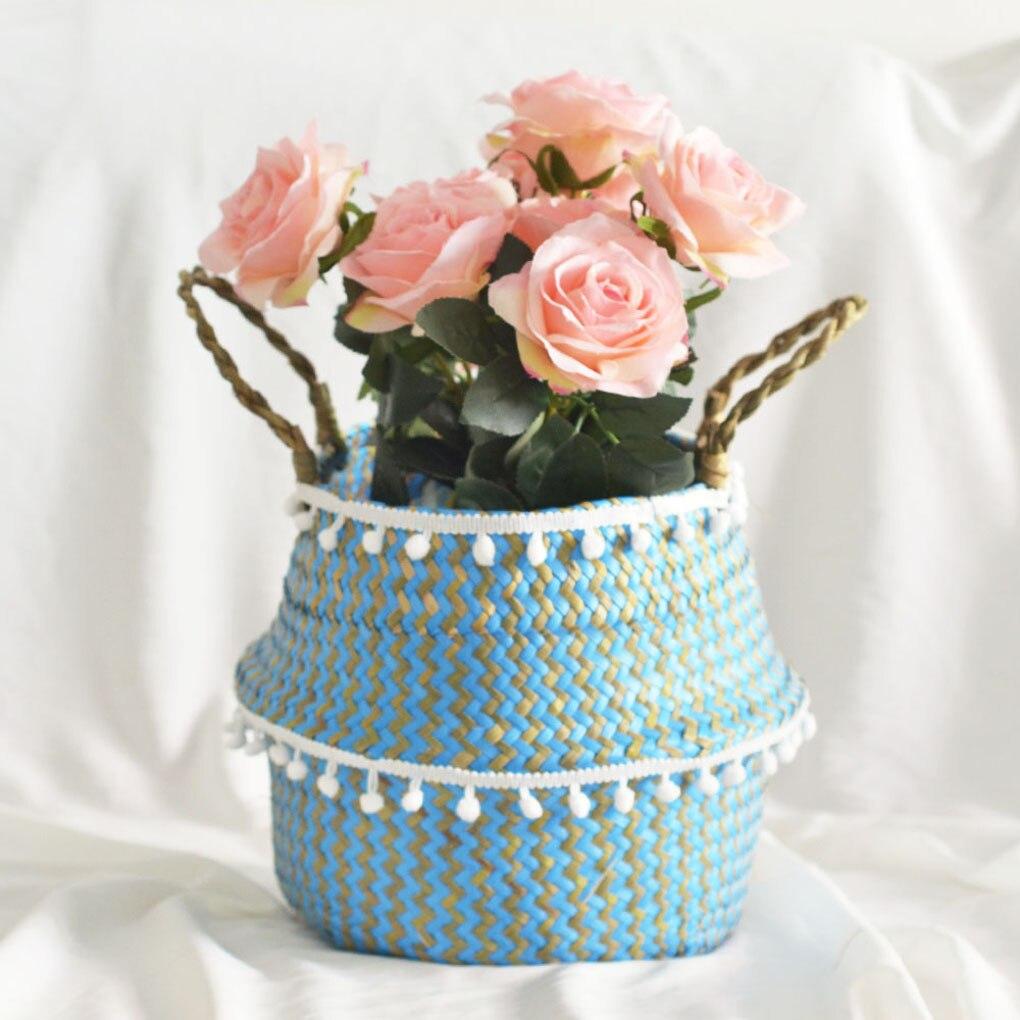 Cesta para almacenar hierbas marinas naturales, plegable, tejida, sucia, juguetes de lavandería, cesto de almacenamiento, maceta, maceta