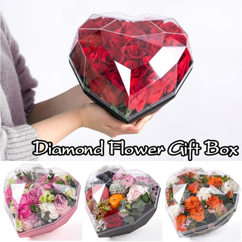 صندوق هدايا أكريليك على شكل قلب ، ألماس ، زهور ، حب ، شفاف ، باقة تذكارية ، بسكويت ، حلوى ، تغليف زفاف