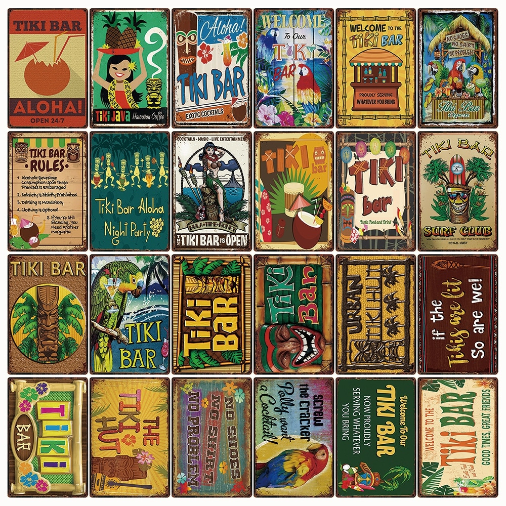 [Mike86] добро пожаловать в наш TIKI BAR Алоха открытая 24/7 металлическая вывеска оловянный плакат домашний Декор Бар настенная живопись 20*30 см размер DD-17