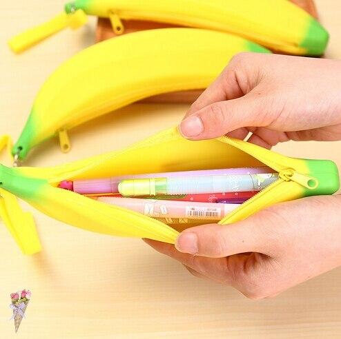 1 uds banana caucho estuches útiles escolares papelería novedad estuche de plátano bolsa de lápiz