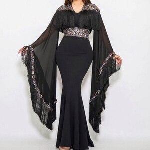 black prom dresses 2020 tassel beading sequins crystal mermaid chiffon floor length evening dresses