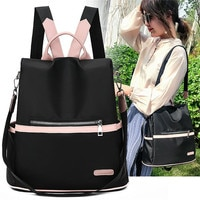 Повседневный Рюкзак из ткани «Оксфорд» для женщин, черные водонепроницаемые нейлоновые школьные сумки для девочек-подростков, Высококачес...