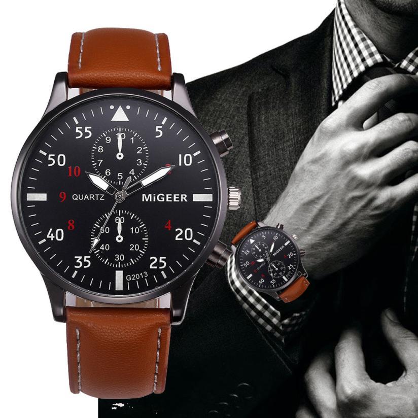 2019 High Quality mens Watch Retro Design Leather Band Analog Alloy Quartz Wrist Watch  Newest Busin