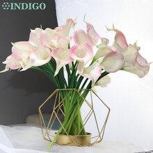 INDIGO-Mini fleur PU Calla Lily 9 pièces/lot   Fleur décorative à touche réelle, fleur pour fête de mariage