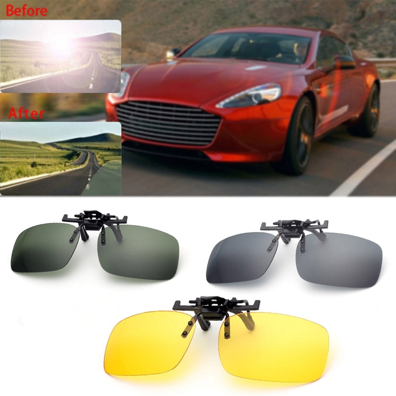 2020 New Fashion Clip On Sunglasses Driving Night Vision Lens Sun Glasses Male Anti-UVA For Men Wome