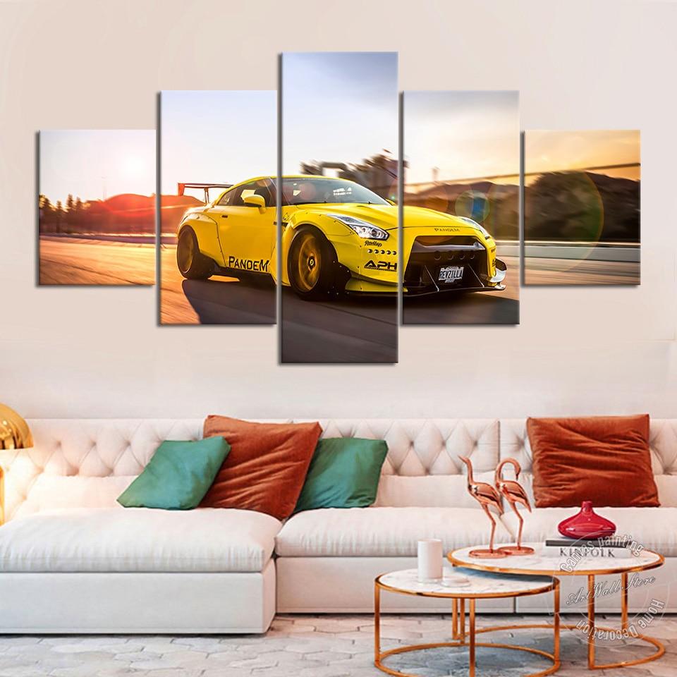 Sin marco 5 piezas de lujo Pintura de coches Nissan Tuning GTR Liberty Walk amarillo coche deportivo lienzo cuadro de pared decoración del hogar Bonitos regalos