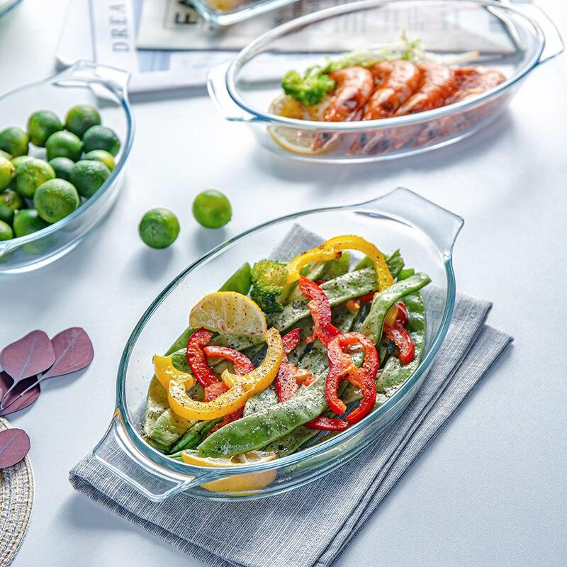 طبق زجاجي مقسّى للاستخدام المنزلي ، طبق خبز مستطيل ، خضروات ، فرن ، ميكروويف