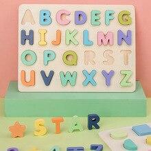Enfants début éducatif Montessori jouets ABC Puzzle numérique en bois jouets Puzzle lettre Alphabet numéro Puzzle bébé jouets cadeaux