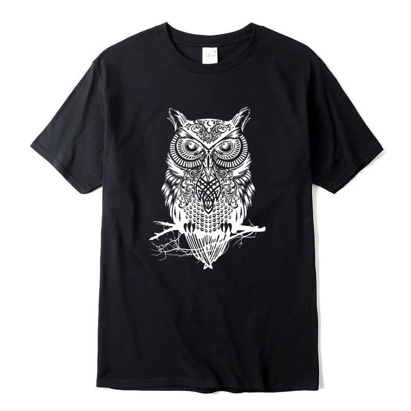 XIN YI Men's T-shirt high quality100%cotton O Neck top quality casual short sleeve  o-neck loose OWL printed men t shirt For Men xin yi men s t shirt100