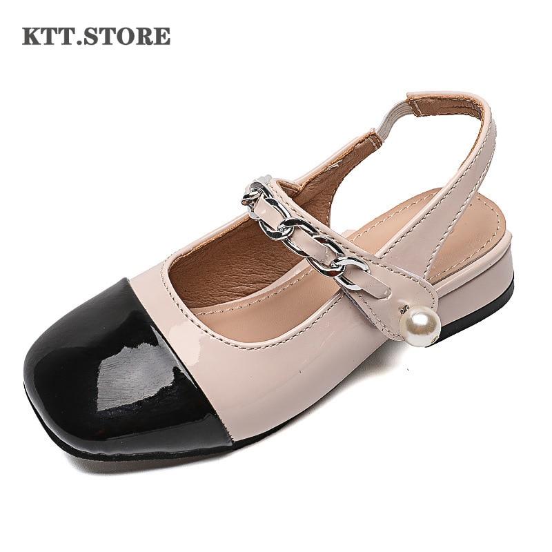KTT الأطفال صنادل مماشي للموضة للبنات كبيرة الصيف الأميرة بنات أحذية من الجلد مع الكعب الأميرة الاطفال أحذية من الجلد للفتيات