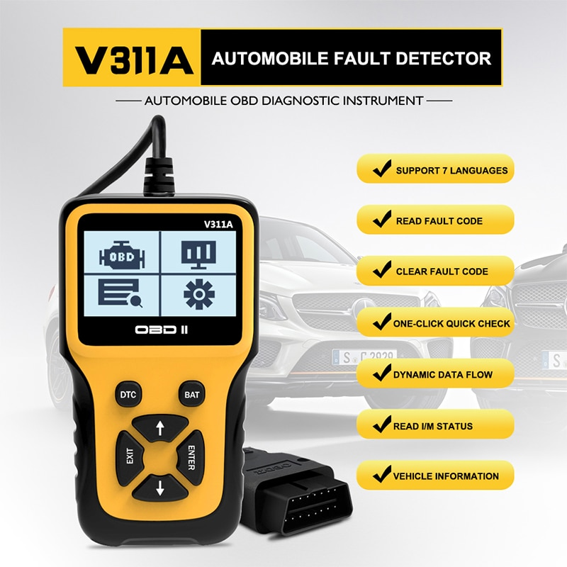 Считыватель кодов ошибок V311A OBDII/EOBD автомобильный диагностический инструмент OBD OBD2 сканер инструмент для ремонта автомобилей