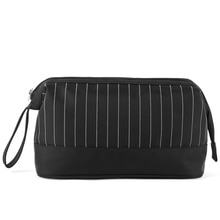 Striped Waterproof Cosmetic Bag Men Wash Shaving Travel Toiletry Organizer Necessaries Make Up Large