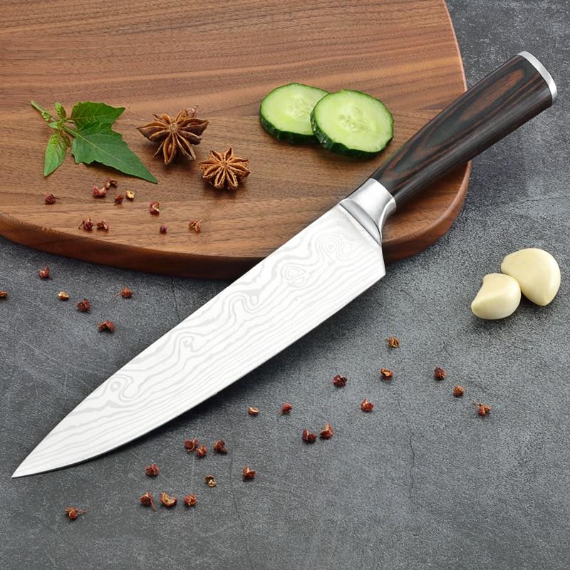 Cuchillo de cocina de doble forja de acero inoxidable de 8 pulgadas, estilo Damasco, cuchillo de chef, cuchillos de cocina