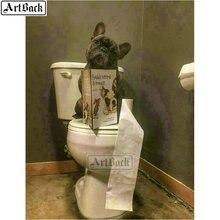5d diy diamond painting dog toilet picture full square round 3d diamond mosaic diamond embroidery
