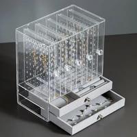 transparent pull type jewelry hanger earrings necklace bracelet storage box dressing table desktop finishing jewelry box
