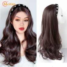 MEIFAN Synthetic U-shaped Half Head Wig Long Wave Curly/Straight Wig With Hair Band Korean Style Natural Fake Fluffy Hair Extens