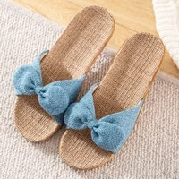 summer women flax shoes breathable women home slippers bathroom flat ladies linen slippers floor unisex couple bedroom shoes