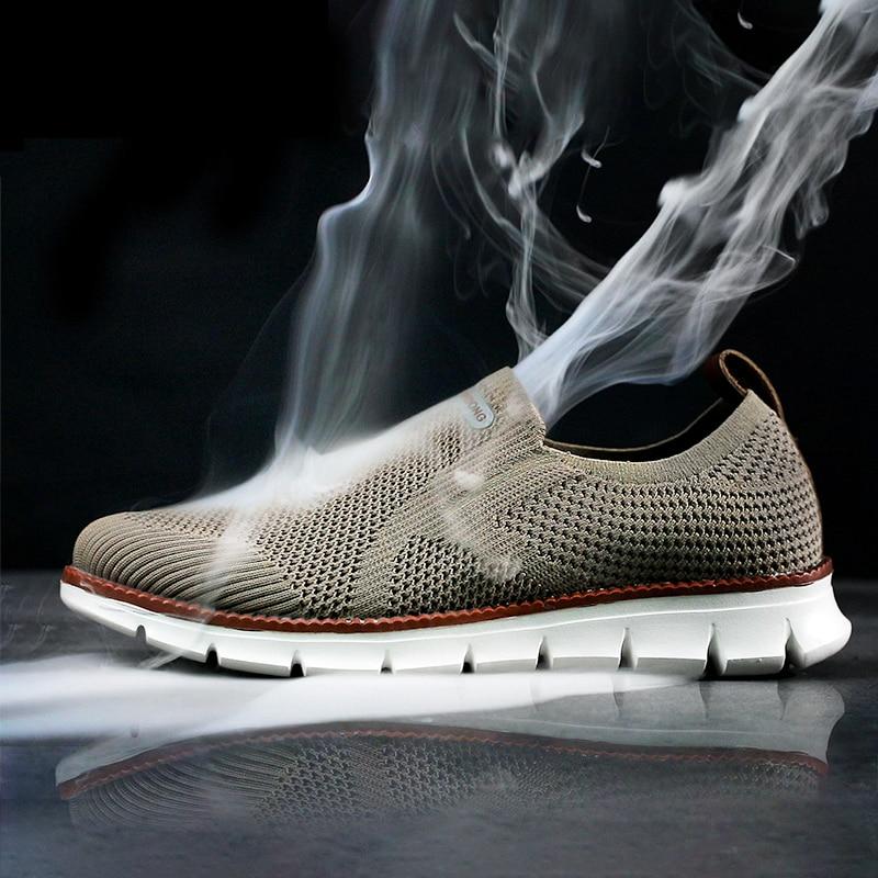 Sapatos casuais para homens mocassins sapatos de caminhada tendência sapatos de malha tênis a céu aberto sapatos vulcanizar popular sapatos de placa