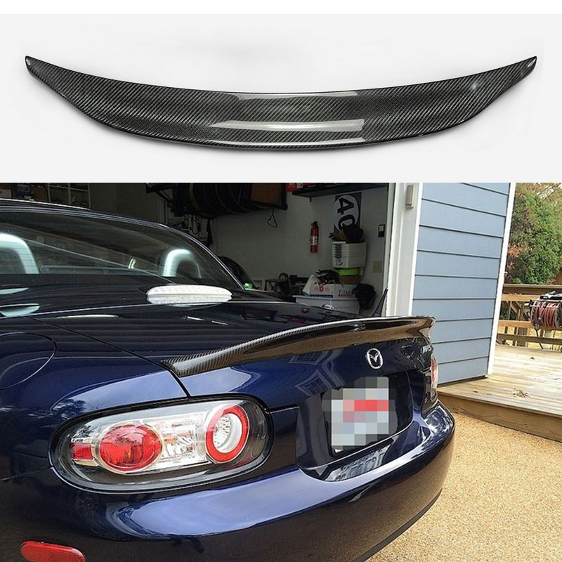Car-styling for MX5 NC NCEC Roster Miata EPA Type 3 Carbon Fiber Rear Spoiler Glossy Fibre Trunk Wing Lip(PRHT Hard Top Only)