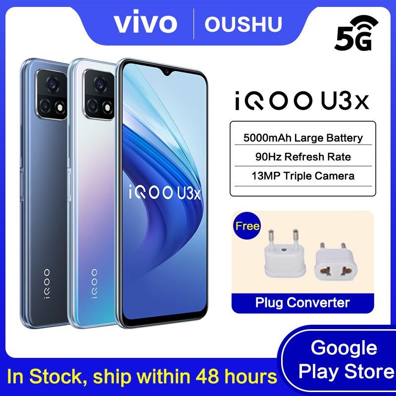 Перейти на Алиэкспресс и купить Оригинальный 5G смартфон IQOO u3x 5000mAh Большой Батарея 18 Вт зарядки мобильного телефона 6,58 ''ЖК-дисплей 90 Гц гоночный Экран 13MP сзади Камера