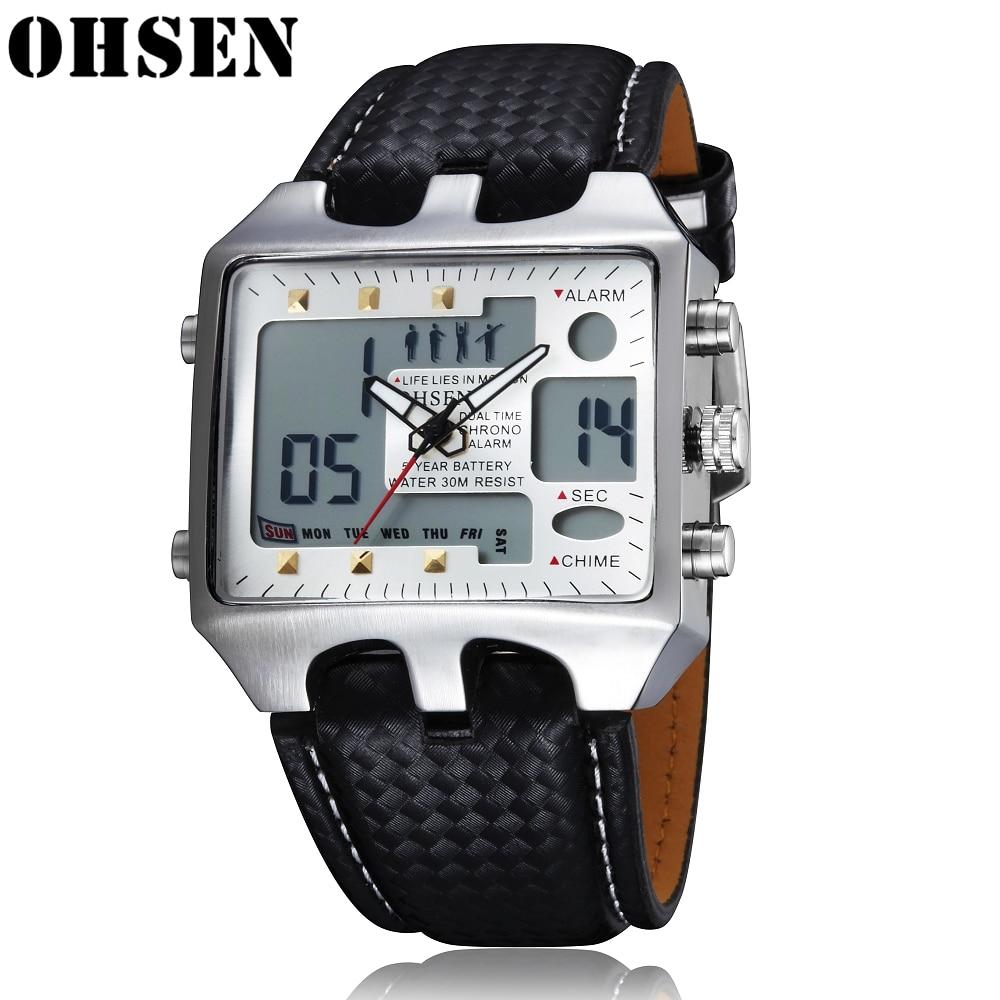 OHSEN Quartz Mens Watches Top Brand Luxury Digital Clock 2 Time Zone Watch Date Leather Strap Reloj Military Oversize Wristwatch