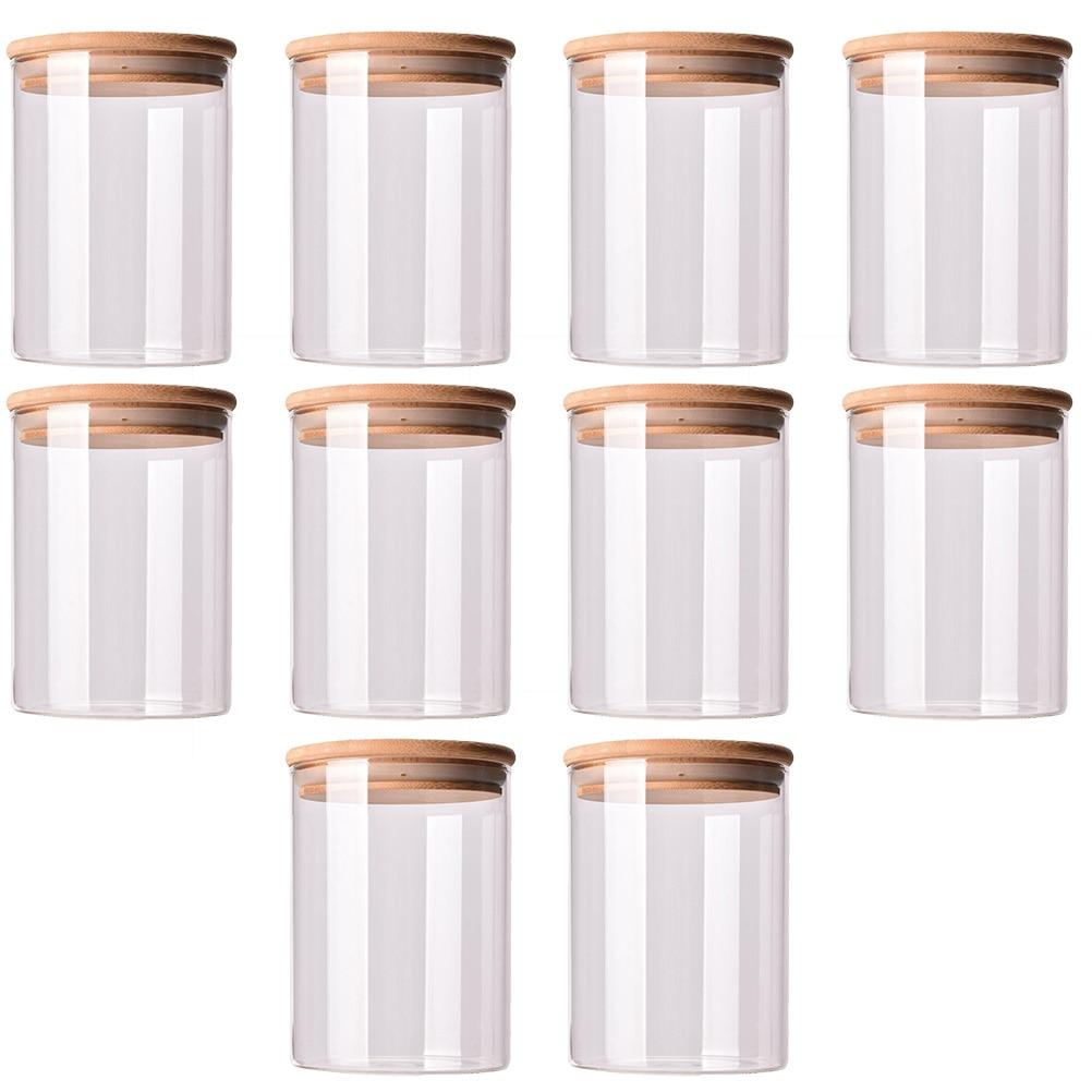 10 قطعة الزجاج دائم مختومة علبة طعام خزان غطاء من البامبو علبة شاي الزجاج قابلة لإعادة الاستخدام جرة خزان يمكن للحلوى الحبوب
