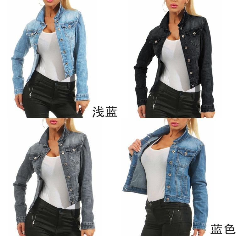 Long Sleeve Jeans Jacket Women Plus Size Autumn Pocket  Stretch Short Denim Jacket Coat Oversize  Womens Jackets and Coats