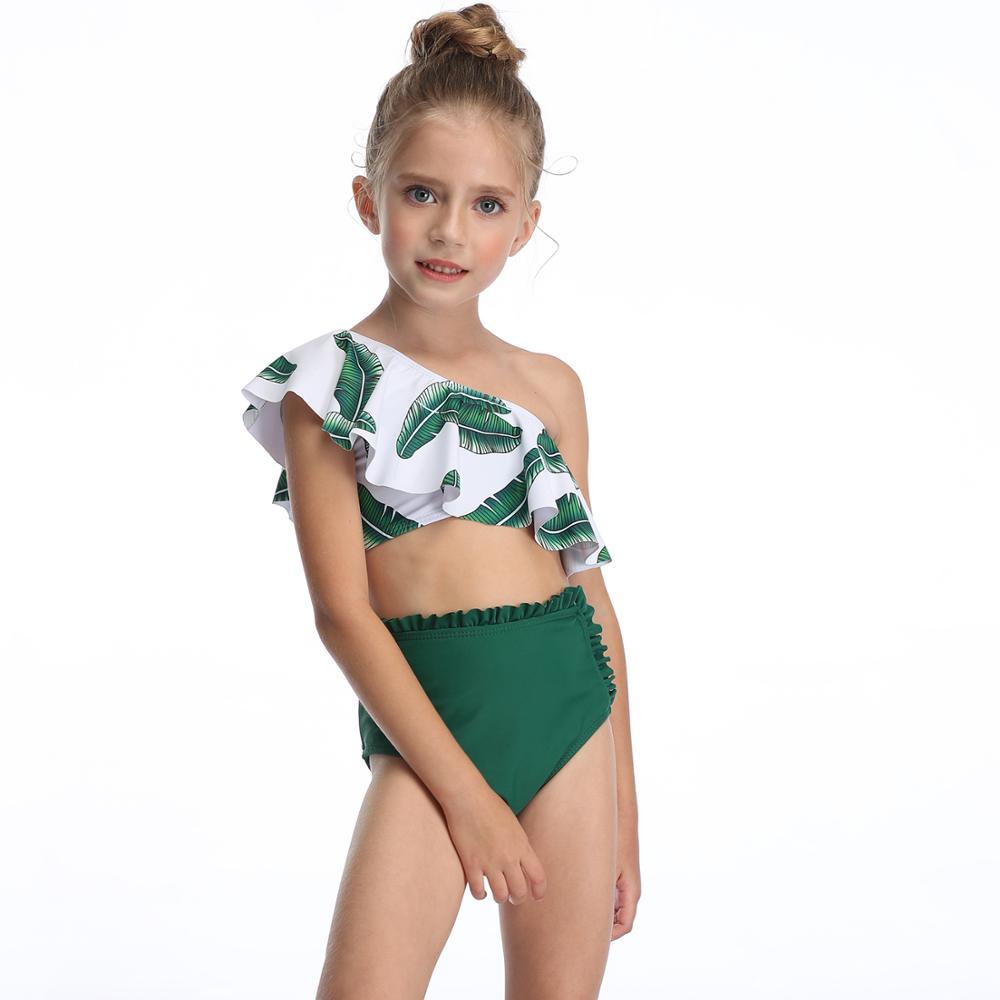 2020 Summer MEIYIER sexy little girls bikini set one shoulder swimsuit kids high waist bathing suit 2 piece swimwear for child