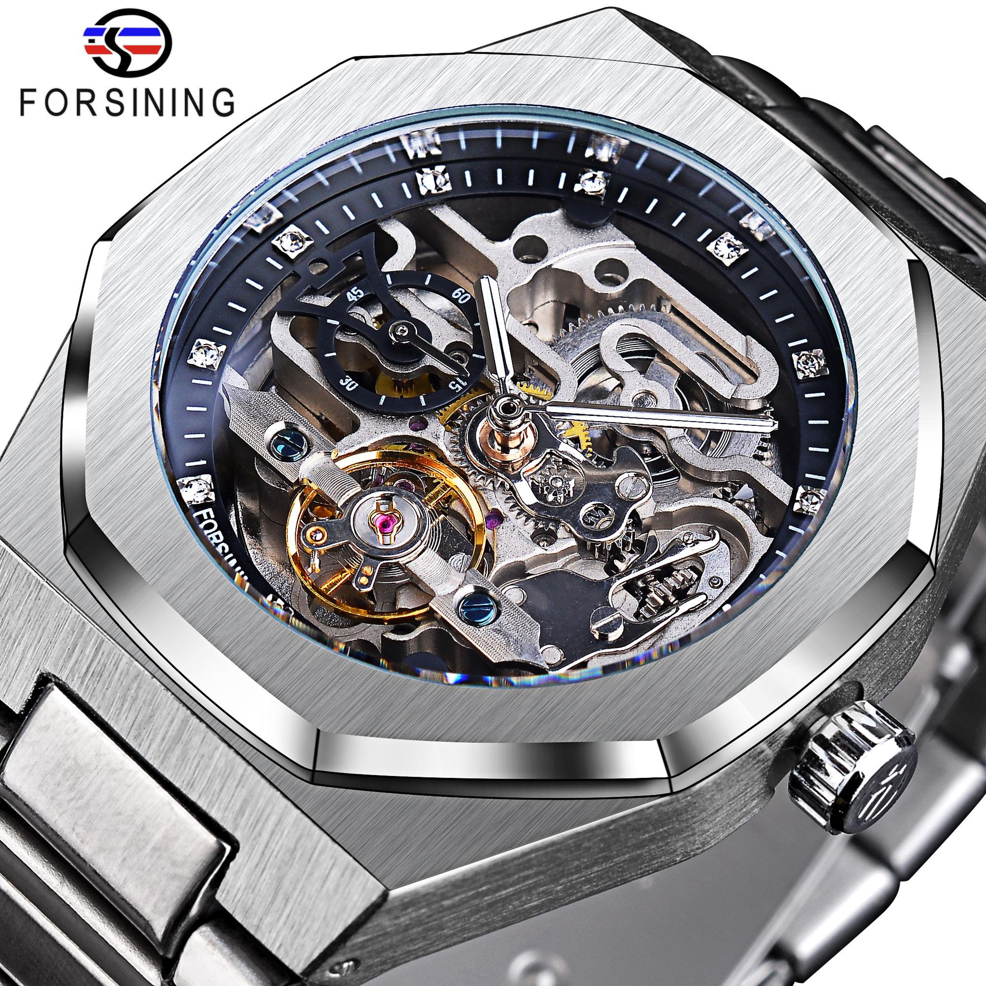 Forsining Silver Automatic Mechanical Watch Skeleton Hollow Mens Wristwatches Luminous Military Watches Tourbillon Montre Homme