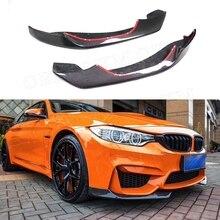 Divisores de labios delanteros de fibra de carbono, solapas de faldones para BMW 3 4 Series F80 F82 F83 M3 M4 2014-2017, protector de barbilla para coche