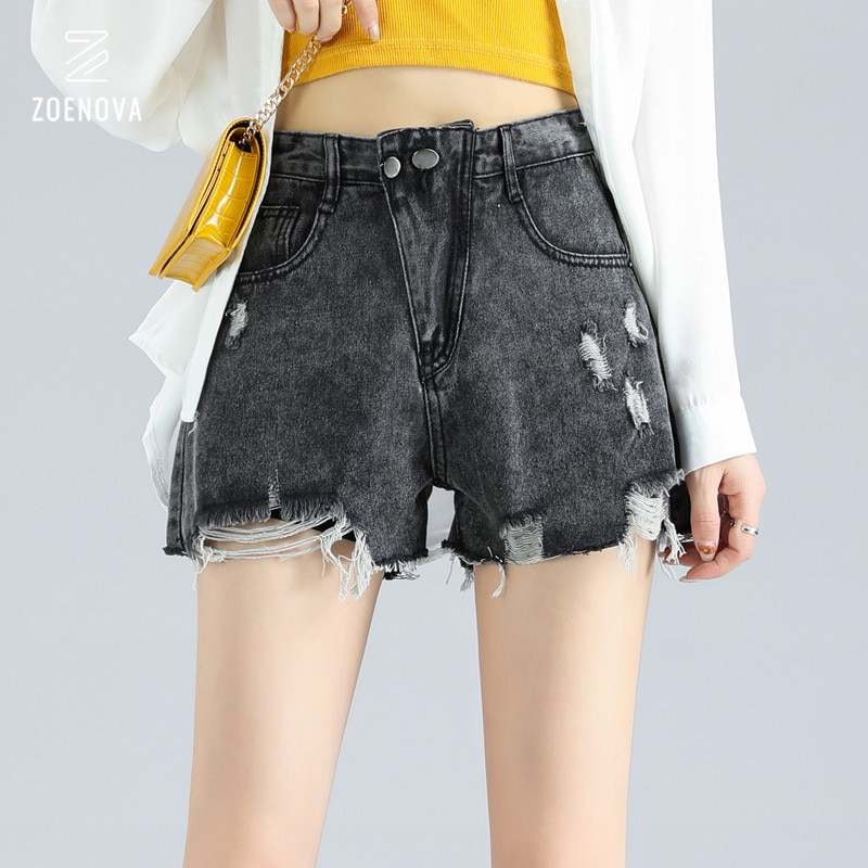 Blue High-Waist Denim Women'S Shorts  Loose Loose Spring Summer 2021 New Burrs And Holes Are Thin Wide-Legged A-Line Hot Pants