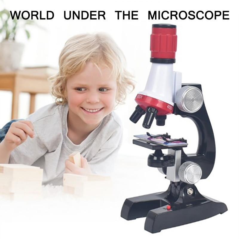 Microscopio biológico 1200X-400X-100X para niños, Kit de laboratorio, ciencia escolar, juguete para regalo educativo, microscopio biológico refinado