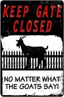 metal plaque keep gate closed no matter what the goats say tin sign poster farm ranch wall decoration vintage metal plate