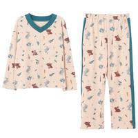 Nan Ji Ren Long Sleeve Women\'s Sleepwear Female Spring and Autumn Cute Korean-style Loose Girl Cotton Ladies Home Leisure Suit